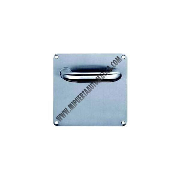 Manilla acero inoxidable con placa cuadrada mi puerta - Placa de acero inoxidable ...